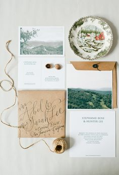 Inspired by nature, travel, and beauty, the wedding invitation collection features a natural palette, earth friendly materials, watercolor, and calligraphy. || via Oh So Beautiful Paper