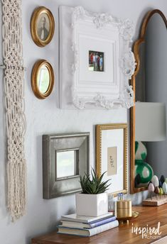 This eclectic gallery wall came together in part thanks to great frame finds at HomeGoods. Paired with other unique elements and a functional mirror it's the perfect wall decor in my bedroom. *sponsored pin*