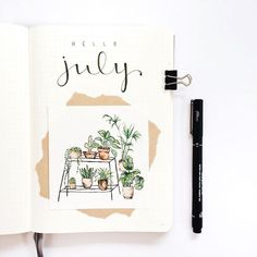 Monthly bujo cover by Hello July! Monthly bujo cover by Bullet Journal August, Bullet Journal Cover Page, Bullet Journal Themes, Bullet Journal Spread, Bullet Journal Layout, Bullet Journal Inspiration, Journal Ideas, Bullet Journals, Autumn Bullet Journal
