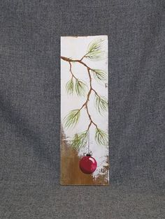 RED Hand geschilderd Kerstdecoratie, Pine tak met rode lamp, Reclaimed Cotswolds, Pallet kunst, Shabby chic Origineel Acryl schilderij op geregenereerde Cotswolds boards. Dit unieke stuk is appx. 17-inch hoog door 5 1/4 breed. Het is een leuke, persoonlijke touch toevoegt aan uw