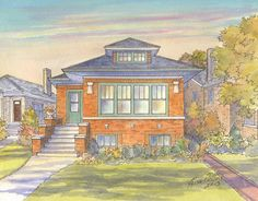 Painting of Chicago Bungalow by www.leisacollins.com