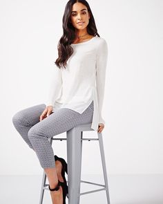Shop online for Mixed Media Sweater. Find Sweaters & Cardigans, Sale, Women and more at Rwco Too Cool For School, Work Looks, Professional Outfits, Summer Outfits, Work Outfits, Work Wear, Mixed Media, My Style, Summer Clothing