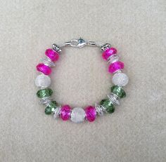 Pink Green & Silver Beaded Bracelet by MonicaWilgaDesigns on Etsy