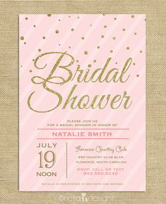 Blush Pink & Gold Glitter Bridal Shower Invitation Confetti Stripes Wedding Shower Printable Digital Download on Etsy, $23.00 AUD