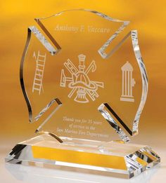 The Crystal Maltese Cross Award is produced from flawless optical crystal and deep engraved. This is the perfect award to honor distinguished service and bravery of our firefighters! This award ships in a quality gift box.    http://www.edco.com/cat/specialty-crystal-awards