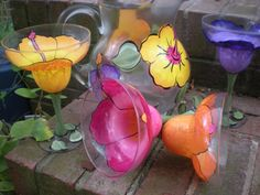 Hand painted hibiscus  kool aid style pitcher and by cccglass, $30.00