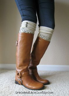 Natural: Open-work Legwarmers with Rubbed Bronze Metal Buttons - Leg warmers.