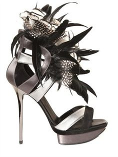 ShopStyle: Diego Dolcini - 130mm Silk, Feather & Calfskin Sandals