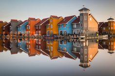 Nice houses at sunrise in Groningen, Netherlands.