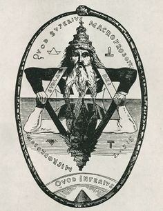 *AS ABOVE, SO BELOW*  In the picture Levi the Occultist, is shown in his familiar pose –   *As Above, So Below*  Note the two triangles intersecting (sexual union) and the snake swallowing its tail – the circle represents eternity via reincarnation; http://watchman33.com/2009/05/08/the-lucifer-project-raising-antichrist-part-vi/