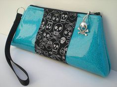 Skull Purse in Turquoise Blue and Black by VelvetBitchOriginals, $29.00....want!