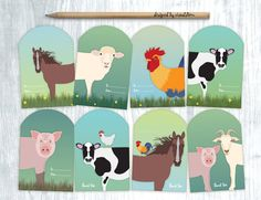 These handmade Farm Animal gift tags include some of our favorite barnyard… Farm Animal Party, Farm Animal Birthday, Barn Animals, Barnyard Animals, Sheep Pig, Cow Gifts, Birthday Gift Wrapping, Gift Tags, Favor Tags
