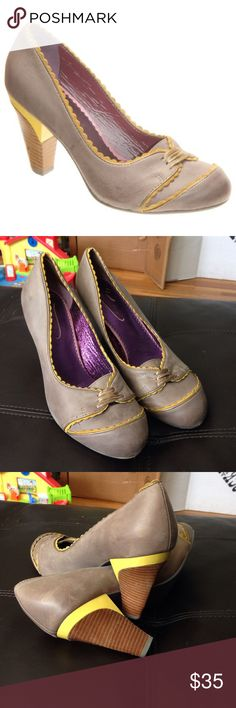 Poetic license orient express heel Good used condition women's 9 gray and yellow Anthropologie Shoes Heels