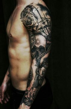 Black and gray full sleeve.. skull, shark, pearls tattoo