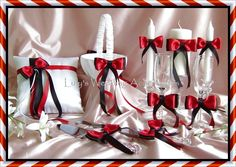 Black and Red Weddings Flower Girl Basket, Ring Pillow, Candles, Flutes, Cake Set, 9pc Weddings Accessories Decor. $160.00, via Etsy.