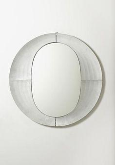 Lorenzo Burchiellaro; Incised Aluminum and Glass Mirror for Cuccaro, 1970s.