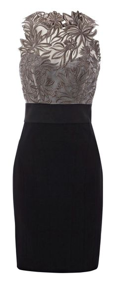 Grey floral embroidered black dress fashion