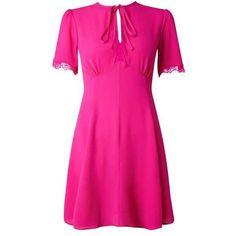 Fuchsia Tea Dress ($51) ❤ liked on Polyvore featuring dresses, pink tea dress, pink dress, fuschia pink dress, tea party dresses and fuschia dress