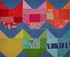 scrappy cat patchwork block, on the austin modern quilt guild blog