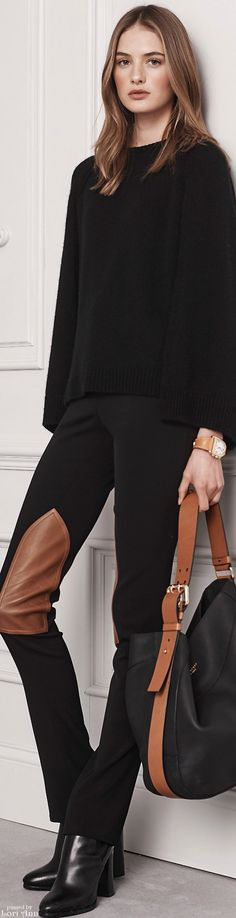 I love the idea of layered black on black with just a hint of a detail...in this case the brown riding pant patches.  Even a tan purse/boots or belt could work as an accent. Ralph Lauren Pre-Fall 2016