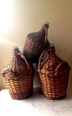 Vintage French Demi John Extra Large Handwoven by ChaseVintage Vintage Rock, French Vintage, Large Wine Bottle, Wine Bottles, Basket Weaving, Hand Weaving, Olive Jar, Wine Bottle Holders, Old Farm