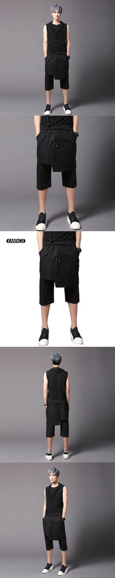 Street Fashion Hiphop Punk Style Men Skirt Pant Casual Calf-length Trousers Summer Male Slim Fit Harem Pant Stage Show Clothing