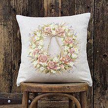 Úžitkový textil - Ružový veniec 40x40 ručne maľovaný vankúš - 6259854_