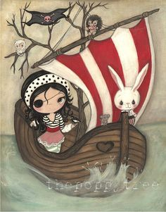 Pirate Print Girl Animal Boat Children Wall Art by thepoppytree, $18.00