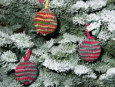 Knitted Christmas ornament with a Styrofoam ball inside