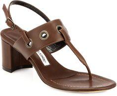 3f6e26b4c724 Manolo Blahnik Brown Entente Leather Grommet Slingback Sandals Brown Sandals