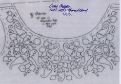 hand embroidery designs for neck Mexican Embroidery, Hand Work Embroidery, Folk Embroidery, Hand Embroidery Patterns, Vintage Embroidery, Beaded Embroidery, Embroidery Stitches, Machine Embroidery, Collar Pattern