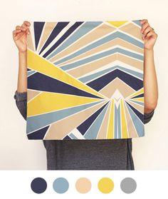 Grey, blue, tan, yellow