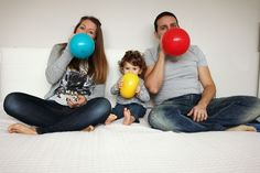 balloons , family portrait , colors , love