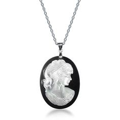 Bling Jewelry Chic Cameo Pendant (€26) ❤ liked on Polyvore featuring jewelry, pendants, black, necklaces pendants, pendant necklace, cameo jewelry, cameo pendant, pendant jewelry and cameo pendant necklace