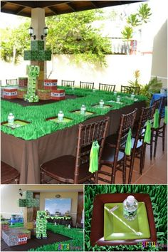 """Ninth boy birthday party…and what's new this year? A lot of guys are requesting a way cool Minecraft party theme. Mare Romo, mom of birthday boy Carlos, produced a fabulous party based on ideas from the Minecraft computer game. These party pictures come to us from Carol, of Partylicious. Although the paper products, stationery and """"just a few touches"""" are Carol's, she credits Mare with using the supplies to build this party. The dessert table ideas are genius for this theme--the cake…"""
