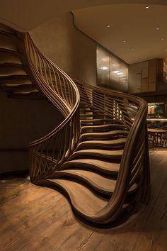 Interior Wood Shutters, Interior Stairs, Home Interior Design, Interior Architecture, Staircase Architecture, Futuristic Architecture, Escalier Art, Escalier Design, Grand Staircase