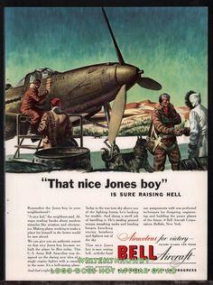 1943 WW II U.S. Army BELL P-39 Airacobra WWII WW2 Aircraft Aviation AD