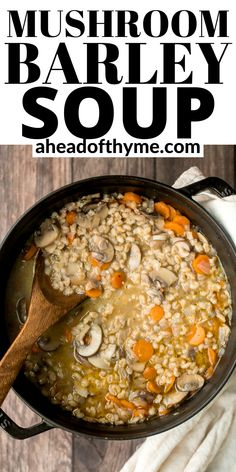 Wholesome and hearty vegetarian mushroom barley soup is healthy, filling, and so delicious. This one pot meal is easy to make with just 10 minutes of prep. | aheadofthyme.com #barleysoup #mushroomsoup #vegetariansoup #soup Easy One Pot Meals, Easy Weeknight Dinners, Mushroom Barley Soup, Vegetarian Soup, Soups And Stews, Stuffed Mushrooms, Dinner Recipes, Curry, Vegan