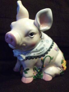 "MERCURIES COLLECTIBLE COOKIE JAR "" FLORAL PIG "" - BEAUTIFUL - MINT"