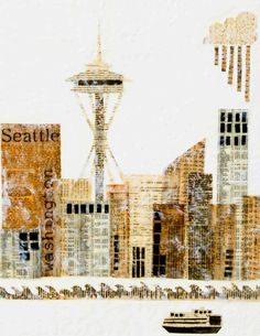 SEATTLE  Art Print Mixed Media Art Collage Encaustic Vintage Papers Space Needle Washington