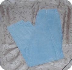 Lands End Wormen's Blue Fitted Front Back Elastic Corduroy Pants Plus Size 16 #LandsEnd #Relaxed