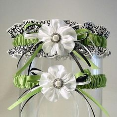 DIY garters.... One for him to throw to the guys and one to keep :-) Love It!