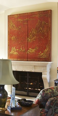 RL Goins' Red Coromandel TV Concealment Screen (rlgoins.com). Interior Landy Gardner.