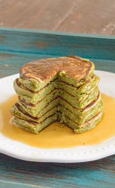 Healthy Vanilla Pancakes with just a hint of green for St. Patrick's Day! Gluten Free and High Protein.