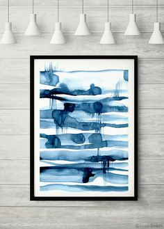 The Mirror Lake, blue art, blue abstract, watercolor print, indigo poster, blue painting, blue modern abstract, minimalist print by LesiaBinkinArt on Etsy https://www.etsy.com/listing/258545297/the-mirror-lake-blue-art-blue-abstract