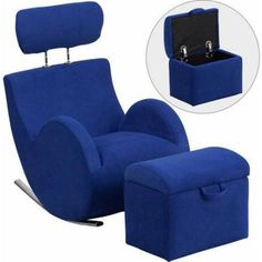 Flash Furniture Hercules Series Fabric Rocking Chair with Storage Ottoman, Multiple Colors, Blue