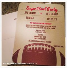Super Bowl party invitation