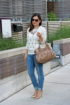 sweatshirt and heels-casual glamour!