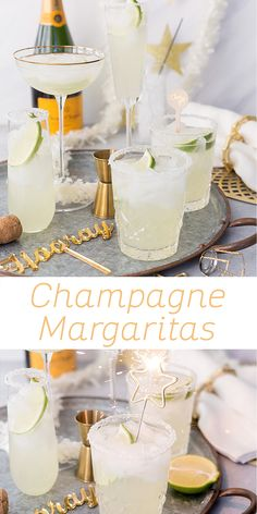 The perfect New Year's Eve cocktail, you must try these sparkling Champagne Margaritas! Champagne Margaritas, Champagne Cocktail, Champagne Margarita Recipe, Vodka Tequila, Tequila Drinks, Party Drinks, Fun Drinks, Alcoholic Drinks, Beverages