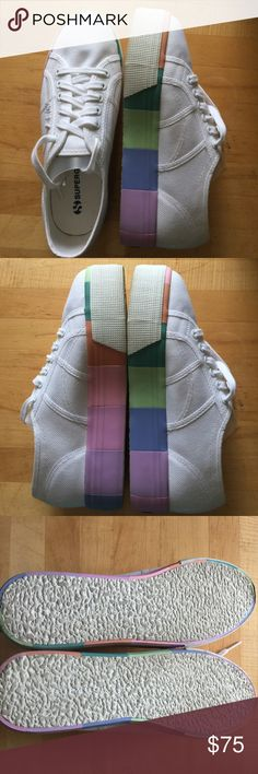 "Superga White Canvas 🌈 Rainbow Platform Sneakers Superga White Canvas 🌈 Rainbow Platform Sneaker Shoes In Stores Now! Rainbow stepping with these exuberant platform sneakers from Superga. Rendered in a crisp canvas with a lace-up entry and fitted on a multicolored striped platform sole that will give your style a happy lift. Finished with rubber coating for perfect footing wherever your adventures take you. - Platform height: 1.5""  *Please note these have been gently worn, some dirt on the…"